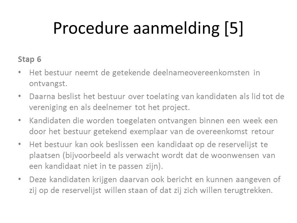 Procedure aanmelding [5]